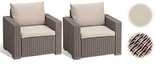 Allibert Lounge Sessel California 2er Set mit Kissen, cappuccino/panama sand