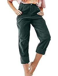Zilosconcy Pantalones de Pana Vintage para Mujer Cintura Media Longitud del  Tobillo Harem de Terciopelo Suelto 5149b2d7e3cd