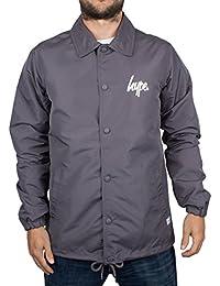 Hype Homme Script Logo Button Coach Jacket, Gris