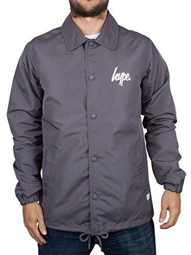 Hype Homme Script Logo Button Coach Jacket, Gris Gris