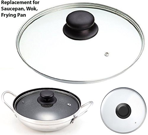 Tempered Glass Vented Spare Replacement Pan Lid Saucepans, Wok, From 14cm - 36cm(22cm)