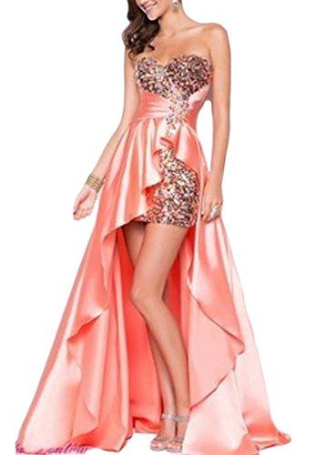 YOGLY Damen Kleider Ärmellos Herz-Ausschnitt Abendkleider Brautkleid Cocktail Ballkleid Pink