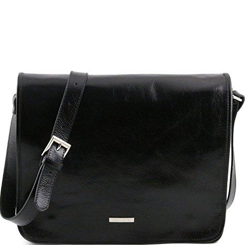 Tuscany Leather - TL Messenger - Borsa a tracolla 2 scomparti - Misura grande Nero - TL141254/2
