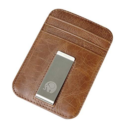 FBGood Männer Damen Retro Geldbörse Einfach Vordertasche Geldbeutel Multi Kartenposition Brieftasche Geld Clip Münztüte ID Kreditkarte Paket Freizeit Portmonee -