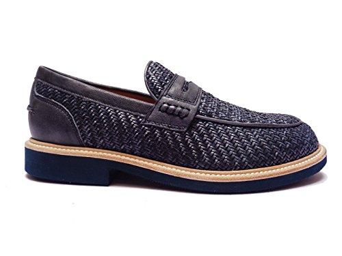 Antica Cuoieria scarpe da uomo mocassini in pelle intrecciata Blu fondo in micro-gomma, num. 43