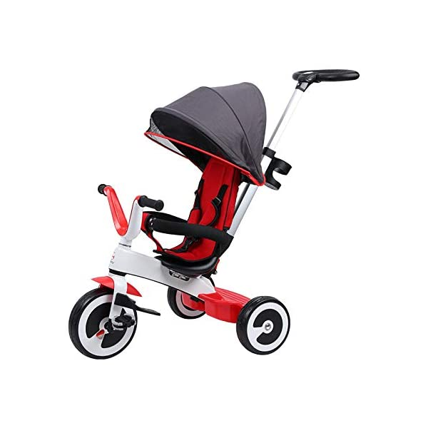 BGHKFF 3 In 1 Childrens Tricycles 1 To 6 Years Light And Sturdy Kids Tricycle 3-Point Safety Belt Folding Sun Canopy Handlebar Child Trike Maximum Weight 25 Kg,Red BGHKFF ★Material: Magnesium alloy one frame, suitable for children from 1 to 6 years old, the maximum weight is 25 kg ★ 3-in-1 multi-function: convertible into stroller and tricycle. Remove the hand putter and awning as a tricycle. ★Safety design: 3-point seat belt, front wheel clutch, safer on the way, rear wheel brake, lock rear wheel, built-in steering link 2
