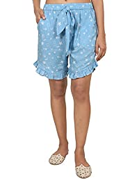 9teenAGAIN Women's Rayon Nightwear Shorts (Turqoise Blue)