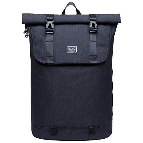 """KAUKKO Rucksack Roll Top Backpack Lässiger Vintage Tagesrucksack Herren Laptop Schulrucksack fit 14"""" Notebook Bag für Wandern Reisen Camp..."""