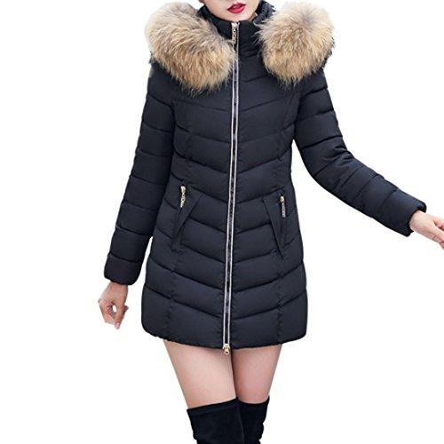 YunYoud Damen Jacke Mode Frau große Größe Mantel Winter Daunenjacke Dick Warm Jacken Slim Fit Lange Winterjacke Beiläufig Reißverschluss Outwear (M, Schwarz) (Strickpullover Bestickte)