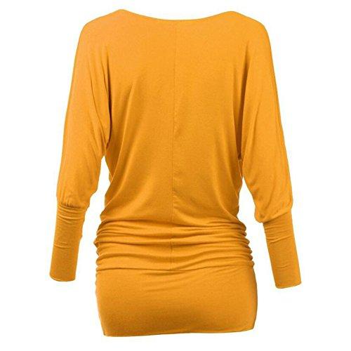Yuxin Manica Lunga Camicetta per Donna - Moda Tinta Unita Slim Fit Camicia Elegante Scollo a V Primavera e Autunno Casual Shirts Tops Giallo