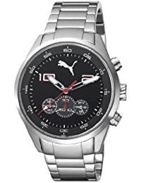 Puma Counter Chrono Men's Quartz Watch with Black Dial Chronograph Display and Silver Stainless Steel Strap PU102451006