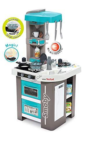 Smoby 311043 Tefal Studio Bubble Küche, Spielküche mit Funktion für Kinder ab 3 Jahren, blau
