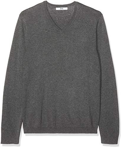 find. Pullover Herren meliert, mit V-Ausschnitt und Rippenbündchen, Grau (Charcoal Grey Marl), 48 (Herstellergröße: Small) -