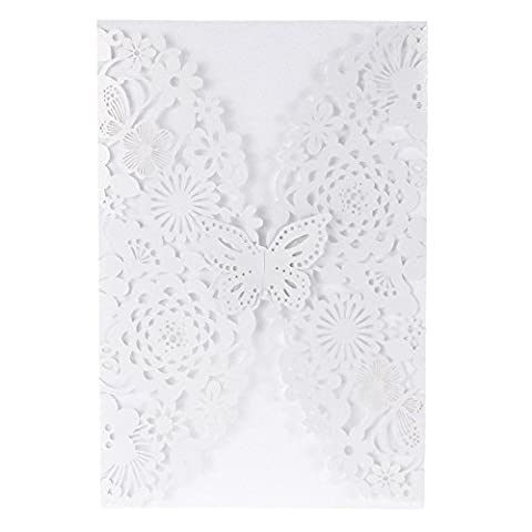 Anself 20Pcs Romantic Wedding Party Invitation Card Delicate Carved Flowers Decoration