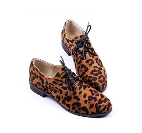 WZG Angleterre rétro neutre chaussures dentelle plat avec des chaussures à talons bas épais avec de petites chaussures en bois oxford avec de nouvelles chaussures leopard color