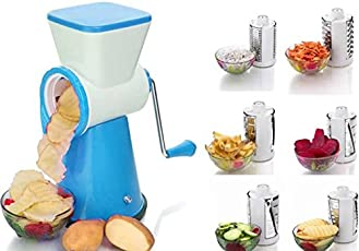 Shraddha 6 in 1 Multicolor Rotary Slicer Grater and Shredder for Vegetables, Fruits and Dry-Fruits with Stainless Steel Blade