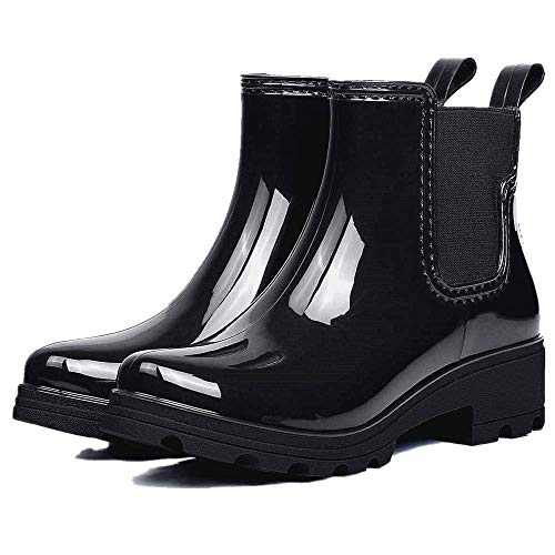 OUTDOOWALS Rain Boots Ankle Boots Non-Slip Rubber Chelsea Boots Waterproof Boots Varnish for Women