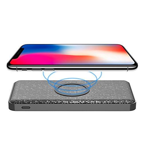 Yoobao W5 Wireless Qi Ladegerät mit 5000mAh Portable Power Bank , Fast Qi Induktive Ladestation für iPhone 8/8 Plus/iPhone X, Samsung S8/S7/Plus, Nexus, HTC, LG und Weitere Qi-fähige Geräte-Schwarz
