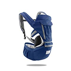 Idea Regalo - SONARIN 3 in 1 Multifunzione Hipseat Marsupio Baby Carrier,Porta bebè,Portantina per bebè,Anteriore e Posteriore,100% Cotone,Ergonomico,100% GARANZIA e CONSEGNA GRATUITA,Ideale Regalo(Blu)