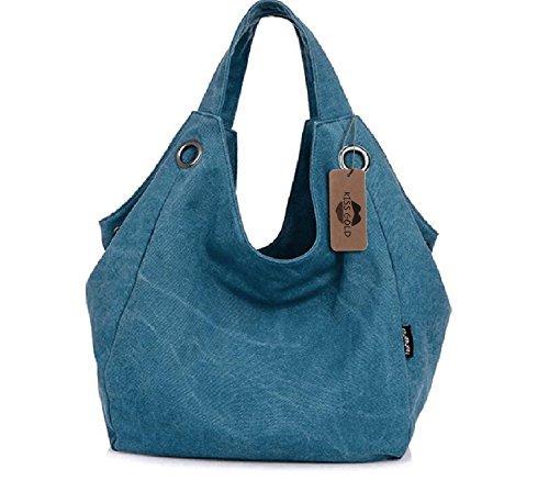 KISS GOLD Damen Schultertasche Canvas Totes Hobo Bag mit einfachem Stil, Blau (Leder Stiefel Tasche)
