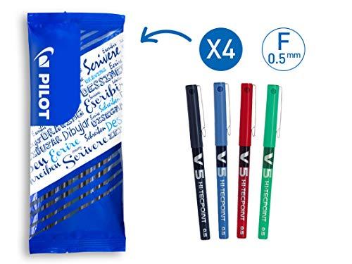 Pilot FLW538820V5roller a inchiostro liquido, punta 0.5mm, colore: Nero/Blu/Rosso/Verde (confezione da 4)