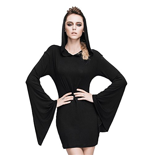 Devil Fashion Punk Gothic Stitching Long Sleeve Dress Women Slim Gown Hooded Thin Skirt,3XL steampunk buy now online