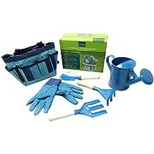 ounona herramientas de jardinería para niños con guantes de jardinería jardín bolso bolsa para herramientas de jardinería para niños (azul)