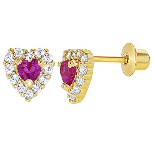 Baby-/Mädchen-Ohrringe 18K vergoldet, klares pinkes/Fuchsie-Kristallherz, mit Schraubverschluss