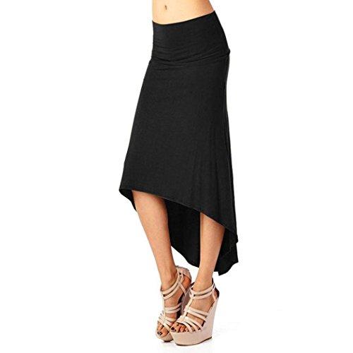 Ba Zha Hei röcke Damen Knielange Asymmetrischer Gummibund Ausgestellter Amen Röcke Schwarz Irregular Fashion Das Neue Paket Hüfte Schwalbenschwanz Verkaufen Sich Wie Warme SemmelnRock (Schwarz, M)
