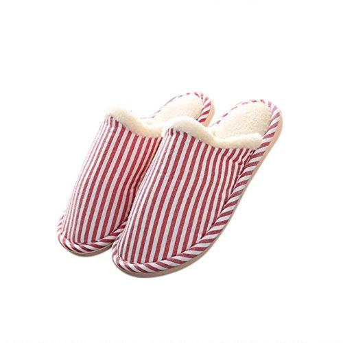 Zantec doux Coton confortable antidérapant Chaussons pour homme femme Bande de semelles d'hiver en plein air Intérieur Chaussons, Red, 36/37 Red