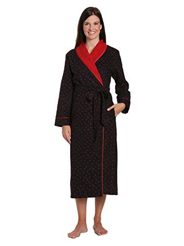 Noble Mount Damen Premium Flanell Fleece Gefütterte Robe - Gekritzel Herzen Schwarz-Rot - Groß -