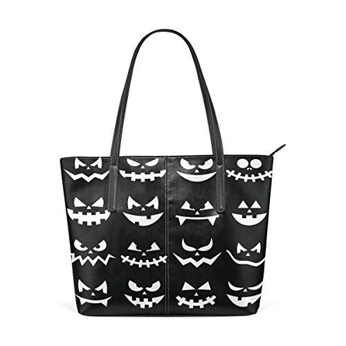 Coosun Scary Halloween Kürbis Gesichter auf schwarzem Hintergrund PU Leder Schultertasche Handtasche und Handtaschen Tasche für Frauen