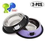 Legendog kitten Bowls ,2PCS Stainless Steel Cat Bowls/Non-skid Cats Feeding Bowl/Cute Cat Pattern Painted Bowl with 2 Food Scoop (Black + purple)