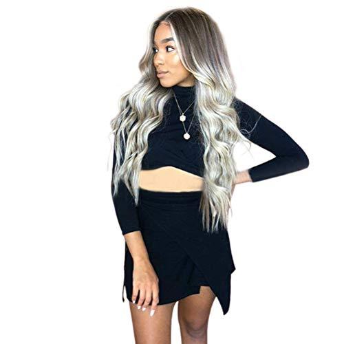 Yemocile capelli umani lunghi naturale, parte centrale grigio scuro ombre parrucca sintetica resistente al calore