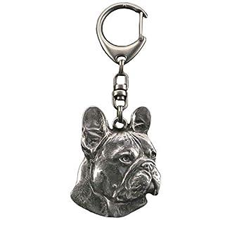 Französische Bulldogge, Hund, Silber, Schmuckanhänger, Anhänger, Schlüsselanhänger, Limitierte Edition, Art Dog