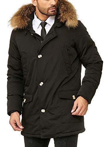 Husaria Designer Daunenjacke Mantel mit Kapuze und echtem Fell sehr hochwertig XXL Fell Parka 7101-4 (L, Schwarz) -