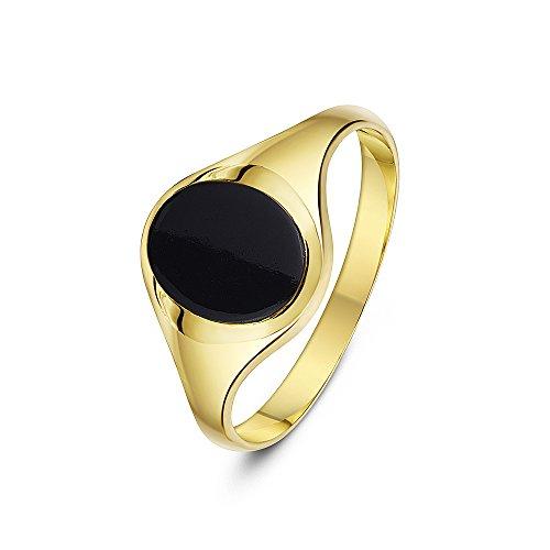 Theia Herren Siegelring 9 Karat Gelbgold, Ovaler, Set mit schwarzem Onyx 10 x 8mm, Größe 58 (18.5)
