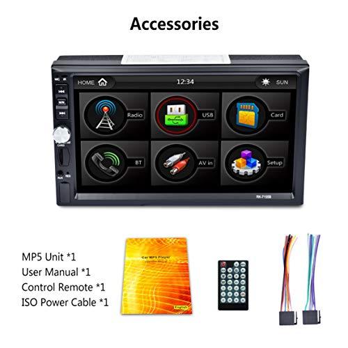 2Din 7inch Voiture MP5 HD écran Tactile Bluetooth FM RDS Radio Charge Rapide avec Fonction de caméra de recul Vue Lecteur multimédia - Bleu