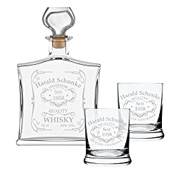polar-effekt 3-TLG Geschenk-Set mit Whiskeyflasche und 2 Leonardo Whiskygläser - Edle Glas-Karaffe Inhalt: 700ml - Personalisiert mit Gravur Motiv Quality Whisky