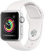 Apple Watch Series 3 (GPS, 38‑mm) kast van zilverkleurig aluminium wit sportbandje