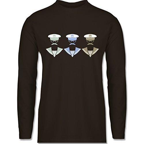 Schiffe - 3 Matrosen - Longsleeve / langärmeliges T-Shirt für Herren Braun
