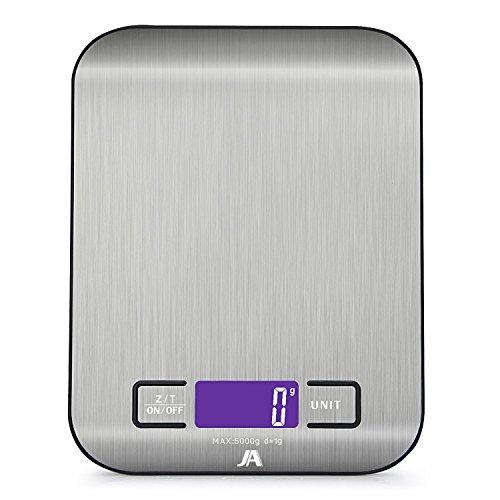 J & a kitchen scale, scala digitale multifunzione con display lcd (batterie incluse) (nero)