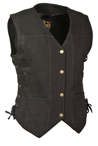 Milwaukee Leather Women's Denim 6 Pocket Vest with Side Lace