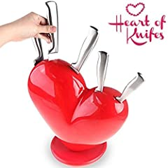 Idea Regalo - Set Cuore di Coltelli Acciaio Inox con Ceppo Heart of Knifes Regalo