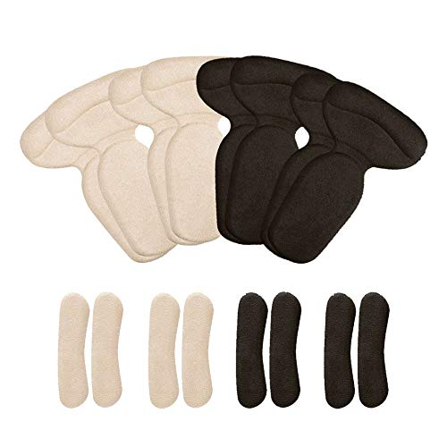 AiYoYo 8 Paar Heels Pads Antislip Fersenpolster Flanel Fersenkissen Fersenschutz Selbstklebend Hoch Fersen Pads mit Fersenhalter für Schutz Fuß Schmerzen & Verbessern Schuhe zu Groß (B) -
