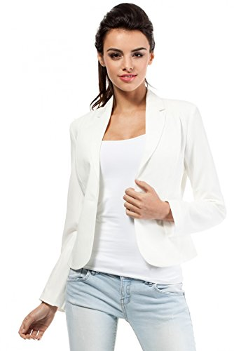 MOE klassischer Damen Business Blazer, Weiß (Ecru) , 38