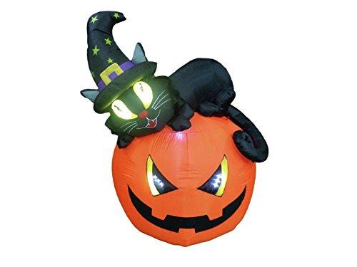 Halloween Katze Aufblasbare (Halloween Kürbis RILEY mit schwarzer Katze und Hexen Hut, selbstaufblasend, 150 cm - Deko Kürbis -)
