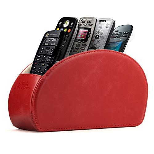 Londo Fernbedienungshalter mit 5 Taschen - Platz für DVD, Blu-Ray, TV, Roku oder Apple TV Fernbedienungen - Leder mit Wildleder Futter - für die Aufbewahrung im Wohn- oder Schlafzimmer - Rot (Apple Remote Desktop)