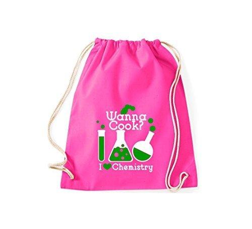 Gymsack Borse palestra Wanna Cook? Provetta I love Chimica - rosso, 37 cm x 46 cm rosa