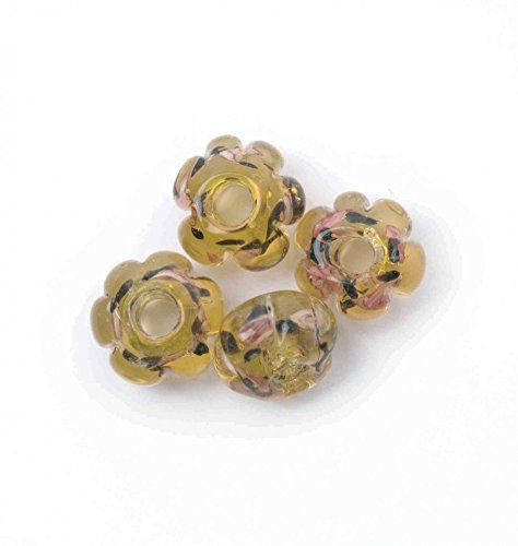 Craft Factory Glas Rose Radmutter Craft Perlen 4 Stück 10 mm - Gold/Braun